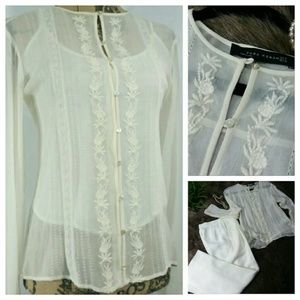 Sheer Ivory Lace Stitched Zara Blouse/TOP
